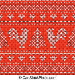 Holiday seamless pattern with cross stitch embroidered roosters