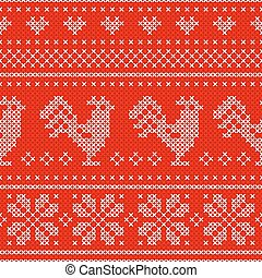 Red Holiday seamless pattern with cross stitch embroidered roosters.