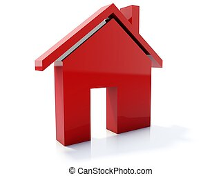Red home icon isolated on white