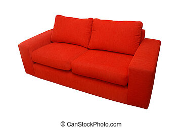Red home sofa isolated over white