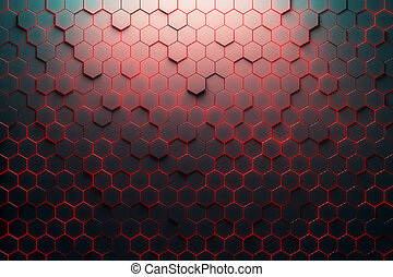Red honeycomb pattern. 3D Rendering