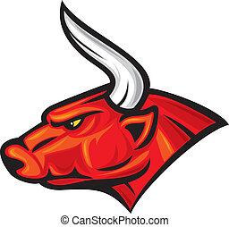 (red, hoofd, bull), stier
