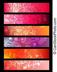 Red horizontal floral ornate banners with stylized plants