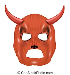 Red Horn Mask Isolated on White