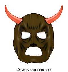 Red Horn Mask on White Background