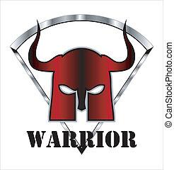 red horned warrior mask
