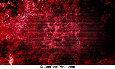 Red Horror Grunge Skeleton