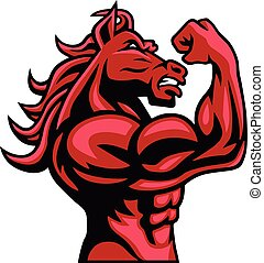 Red Horse Bodybuilder Posing His Muscular Body Vector Mascot...