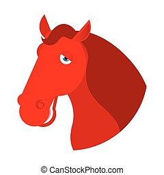red horse head. Muzzle hoss isolated on white background