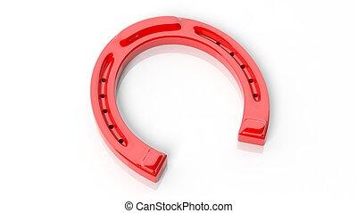 Red horseshoe, isolated on white background.