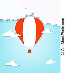 red hot air balloon and clouds
