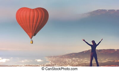 Romantic postcard trip on Valentine's Day - Red hot air...
