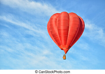 Red Hot Air Balloon in the air