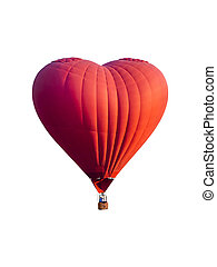 Red hot air balloon in the shape of a heart isolated on white background