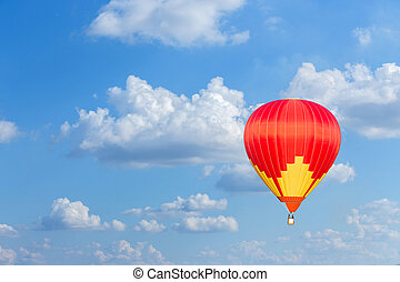 Red hot air balloon on blue sky background