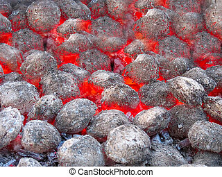 Red hot burning coals