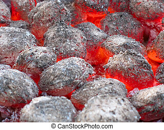 Red hot burning coals background in the hearth