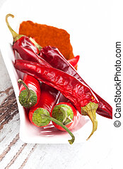 Red hot chili pepper and paprika spice. - Dry and fresh...