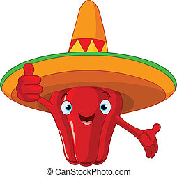 Red Hot Chili Pepper Character - Illustration of a red hot...