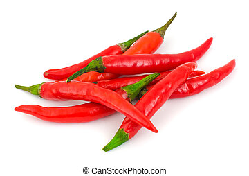 Heap of red hot chili pepper isolated on white background
