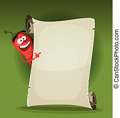Red Hot Chili Pepper Holding Restaurant Menu - Illustration...