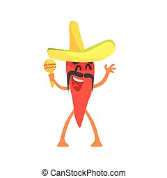 Red Hot Chili Pepper Humanized Emotional Flat Cartoon Character With Sombrero And Maracas
