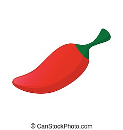 Red hot chili pepper icon, cartoon style