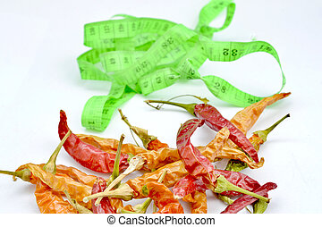 red hot chili pepper in front of tape measure,