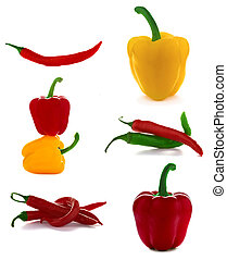 Red hot chili pepper on white background.