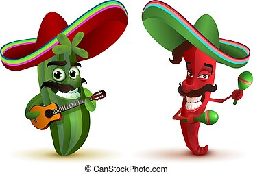 Red hot chili peppers and cactus in Mexican hat