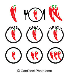 Red hot chili peppers icons set