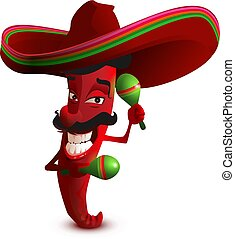 Red hot chili peppers in Mexican hat sombrero