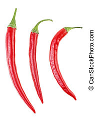 Red hot chili peppers isolated on a white background, top view.