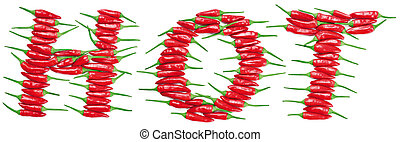 Red hot chili peppers create the word HOT. Photo montage of isolated peppers on white background.