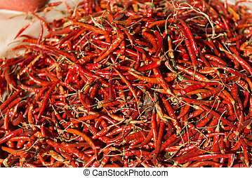 Red hot chili peppers on the market