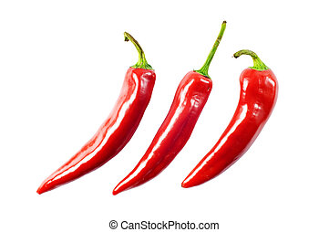 red hot chili peppers on white with clipping path