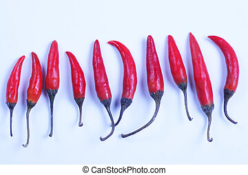 Red hot chili peppers - Red hot Thai chili peppers lined up ...