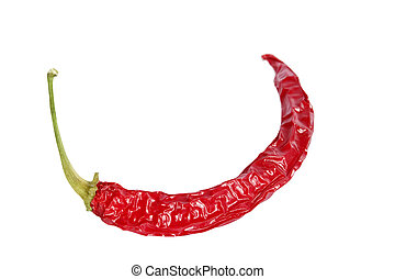 A dry red hot chilli pepper isolated on white with clipping path.