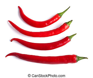 Set of red hot chilli pepper isolated on white background with included clipping path.