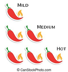 Vector red hot chilli peppers mild medium hot