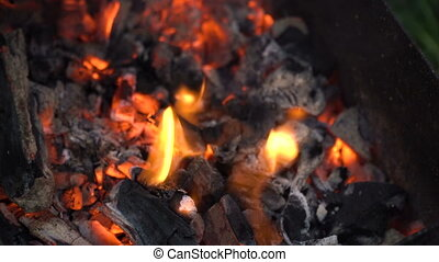Red hot coals. - Burning charcoal.Hot coals in the fire.Fire...