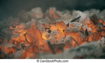 Red hot coals or ember for barbecue, close-up shot - Red hot...