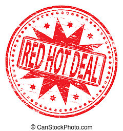 """Rubber stamp illustration showing """"RED HOT DEAL"""" text"""