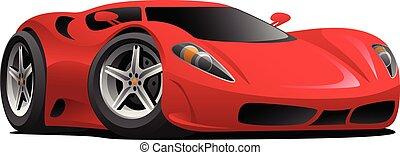 Red Hot European Style Sports-Car Cartoon Vector Illustration