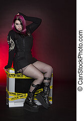 Red hot goth pinup