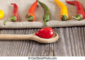 Red hot Habanero chili pepper on a cooking spoon