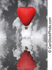 Red hot hair balloon in the shape of a heart