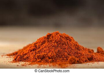Red hot paprika powder heap