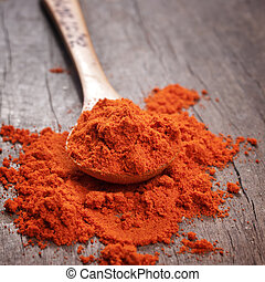 Red hot paprika powder on wooden spoon. Close up photo