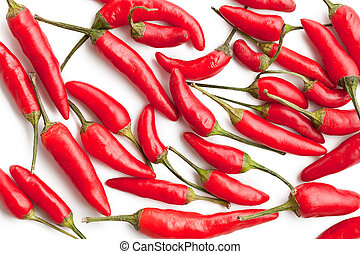 red hot peppers on white background